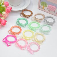 Wholesale fashion multicolors silicone hair hands telephone line hair ropes with knots spiral hair tie for children
