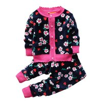 baby thermal clothes - 2015 Autumn winter baby girls christmas clothing set kid Flower thicken Warm clothes set children Thermal cardigan sweaters pant