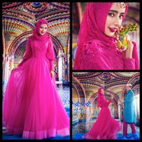 Cheap Modest Fushcia Muslim Wedding Dresses With Long Sleeves A Line Lace Beaded Arabic Colored Ball Gown Bridal Dress