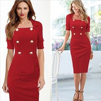 Wholesale Womens Square Collar and Short Sleeve Bodyconl Dress Double breasted and Wrap Dress