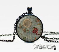 Wholesale Vintage Ship pendant Vintage Ship jewelry Vintage Ship necklace Antique Style Ship Sea Monsters Antique Nautical Maps PS0024