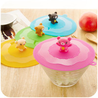 silicone cup lid - Free Shiiping Hot Selling Lovely Small Bear Cartoon Silicone Cup Lid Cup Cover Environmental preservation Wangai small pot
