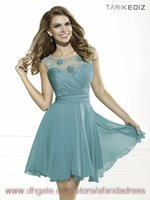Cheap Backless Cocktail Dresses 2014 Sexy Cheap Illusion high neck Lace Chiffon Hand Made Flowers Short Prom Dresses homecoming dresses TE90369
