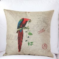 Wholesale Chinese mix Europe style Parrot High Quality Cotton Linen Throw Pillow Cases Cushion Cover