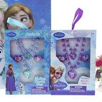 Wholesale Frozen mixed batch of children s cartoon sets of chain jewelry heart shaped earrings bracelet necklace sets little girl favorites