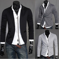 Wholesale hot selling mens suit jacket slim fit fashion New autumn men casual Slim small suit male light gray knit Xx02F