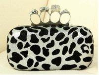 Bolso de embrague del cráneo del hombro de la impresión del leopardo de Wholesale-Ring con la carpeta de cadena del wristlet del monedero