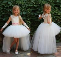 beautiful belt - Beautiful Flower Girl Dresses for Wedding New Collection Jewel Neck Vintage Lace with Beads Satin Belt High Low Pageant Gowns BA0599