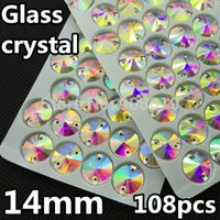 Wholesale Top Quality mm Two Hole Rivoli Foiled Sew on Stone Crystal Clear AB Color Flatback Sewing on Rhinestones Ifirstyle