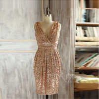 red rose - Rose Gold Sequins Short Prom Dresses Custom V Neck Knee Length Semi Formal Party Dresses Sleeveless Special Occasion Dress Guest Dress