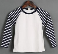 Wholesale Boys Girls Shirts Spring Hot Selling Item Kids Narrow Stripe Raglan Sleeve Pullover Children All Match Cotton Clothes Clothing E1828