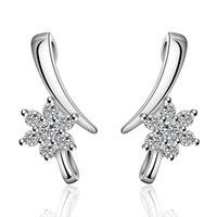 zirconia stud earrings - Fashion Style Silver Earrings Vintage Flower Zircon Stud Earrings