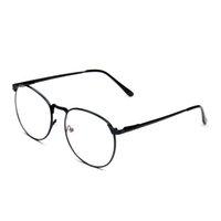 Precio de Men s round eyeglass frames-Al por mayor-Hombres metal de la aleación ronda marco gafas gafas de alta calidad para la protección de la radiación mujeres lente película 2015 nueva llegada del otoño