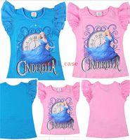 frozen tshirt - 2015 Summer Girls Top Shirt T Shirts Frozen Cinderella T Shirt Elsa Anna Babies Clothes Kids Short Sleeve Tshirt Children T Shirt Clothing