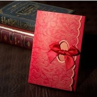 Wholesale Traditional Elgant Flower Embossed Lce Wedding Invitations Cards With Bow in Red Customized Printing