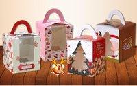 Wholesale 300pcs christmas cupcake box muffin box with clear PVC window cake box apple box
