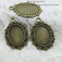 antique cameo rings - 20pcs Antique Bronze Metal Alloy Cameo Flower mm Fit mm dia Oval Cabochon Settings Pendant Blank Charms D0777