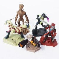 Finished Goods Props Guardians of the Galaxy 5pcs set Guardians of the Galaxy Groot Rocket Raccoon Drax the Destroyer Star Lord PVC Action Figure Model Toys