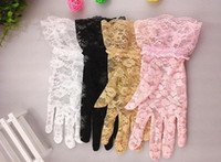 Cheap Women Wedding Bridal Lace Gloves Accessories Bride Tulle Flowers Hollow Short Ruffles Glove Car Drive Sun Protection Hand Wear 5 colors