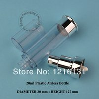 lotion containers - 20ml bright silvery PS airless lotion pump bottle vacuum bottle cosmetic container packaging