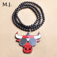 big bead necklace men - Luxury Brand Good Wood Hip Hop Long Beads Necklace For Men Big Fashion Chain Bull Pendant Necklaces Costume Jewelry