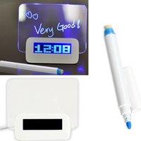 alarm clock shopping - Blue LED Fluorescent Digital Alarm Clock Message Board Calendar Night Light USB Port Hub B2C Shop