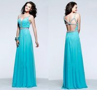 Cheap Beaded A Line Aqua Chiffon Prom Dresses V-neck Sleeveless Made to Order Lovely Formal Gowns Dresses XS