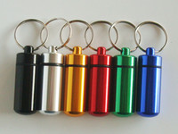 Wholesale 12pcs x17mm Waterproof Aluminum Pill box Cache Capsule Stash Container Case Key ring bottle keychain holder Survival Gear Kits