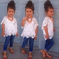 baby couture - Hot western designs children clothing set baby girls hollow out tops white camisole jeans outfits set kids suits baby couture