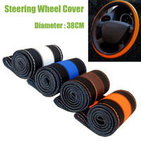 Wholesale 4 Colors DIY Leather Sport Car Steering Wheel Cover Auto Car Stitch On Wrap Cover WIth Needles and Thread For Diameter cm