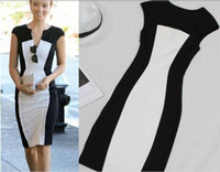 Wholesale vestidos New Fashion Women Summer dress Slim Bandage black white stitching dresses Casual sexy Party Plus Size Bodycon Dress