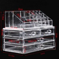 acrylic table display case - Big Makeup Organizer Cosmetics Acrylic Clear Case Storage Insert Holder Drawers Box acrylic display rack table rack