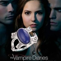 Wholesale 2016 New Arrival Vampire Diaries Elena Anti sun Blue Retro Rings crystal cat s eye diamond ring For Women best Gifts