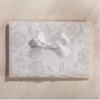 Wholesale White Flora Bow Wedding Invitations With Envelope Christmas Valentine Party Birthday Cards New Popular