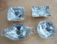 Wholesale silver plated rectangular round square oval metal zinc alloy fruit tray fruit plate