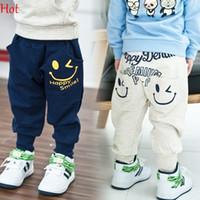 Wholesale 2015 New Spring Autumn Kids Pants Cotton Boys Girls Casual Pants Kids Smile Sports Trousers Letters Harem Pants Hot Grey Nave Blue SV009847