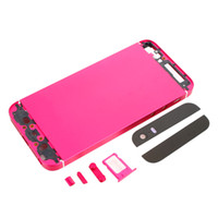 Wholesale Full Set Color Back Cover Housing Case for iPhone S Black Top Bottom Glass Set without Logo Rose Red
