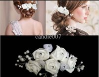 Wholesale bridal hair barrettes decoration pearl and silk bridal hair accessories bridal hair flower white wedding party hair accesseroies