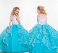 Cheap Ball Gown Pageant Gowns For Teens Spaghetti Strap Lace and Sparkling Crystals Floor Length Lovely Glitter Flower Girls Dresses