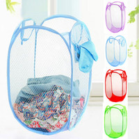 best laundry hamper - 2015 New arrival Hot sale best quality Pop up Foldable laundry toy storage washing clothes basket bin hamper kids net Free Shi