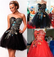 Cheap Strapless Embroidery Peacock Short mini Prom evening dresses Bridesmaid Party Dress pegenant Tulle Celebrity Party Evening Gowns