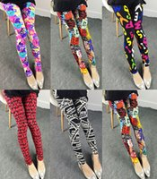 Wholesale Patterned Leggings Soft Microfiber with Colorful Printed Leggings Women Summer Colors Nine Legging