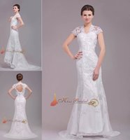 Cheap Vintage Lace 2015 Designer Wedding Dresses With Applique Beads Sheath Cap Sleeve Key Hole Backless Floor Length 2014 Bridal Gowns Real Image