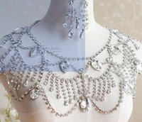 Wholesale Best Quality Bridal Jewelry Bridal Accessories wedding shoulder Neckline chains necklace Shiny Rhinestone Crystal Beading lace Wave chain
