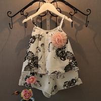 animal t shirts - Korea Babys Clothes summer girls shoulder straps cotton print flowers T shirts print flowers short sets LL