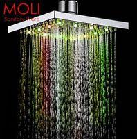 Wholesale 7 color led shower head led rain shower head square ABS light changing led shower temperature sensor