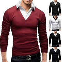 Wholesale Foreign long sleeved men s head fake two piece sweater men s autumn and winter paragraph men s shirt collar sweater thick