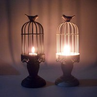 Wholesale 2015 Vintage candle holder home docor romantic KX8003 Birdcage Continental Iron Candlestick creative wed