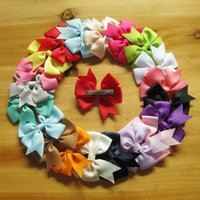 baby blue ribbon - Popular Children s Headwear V shaped Ribbon Bow Hairpin DuckBill Clip Swallow tail Girls Baby Candy Red Blue Pink Yellow Green