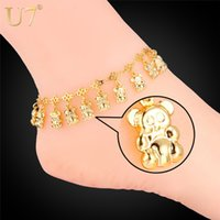 barefoot bears - 2015 Summer Jewelry Foot Bracelet For Women K Real Gold Platinum Plated Cute Little Bear Anklet Bracelet Barefoot Sandals A303